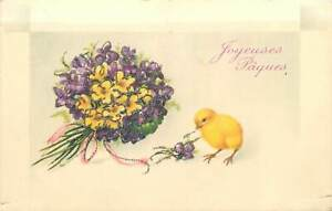 Easter Postcard little chicken flower bouquet