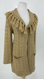 CHICO'S Womens Cardigan Sweater Fringe Cable Knit Metallic Wool Blend Gold Tan M