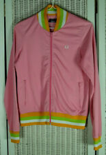 FRED PERRY Women's Zip Track Jacket UK14 38″ Chest Pink Pumpkin Lime Green White