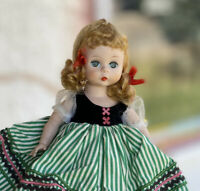 """8"""" Madame Alexander-Kins ALEX Vintage Doll in Tagged Green Striped Outfit 1950s"""