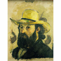 Paul Cezanne Portrait De Lartiste Au Chapeau De Paille Large Canvas Art Print
