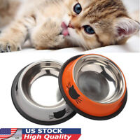 US Stainless Steel Cute Dog Bowls Pet Cat Claw Water Drinking Dish Food Feeder