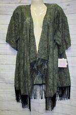 Lularoe L Green Lace Kimono Monroe Fringe Cardigan Sheer Cover up Light weight