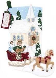 """Bucilla Felt Stocking Applique Kit 18"""" Long-Dashing Through The Snow"""