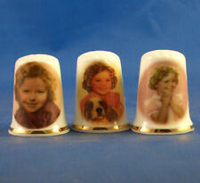 Birchcroft Thimbles -- Set of Three -- Shirley Temple