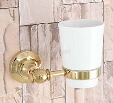 Gold Color Brass Bathroom Wall Mounted Single Ceramic Cup Toothbrush Holders