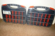 2 X 21 COMPARTMENT ORGANISER TOOL STORAGE BOX~STRONG PLASTIC/ REMOVABLE DIVIDERS