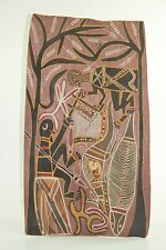 RARE VINTAGE  ABORIGINAL WOOD BARK ART PRIMITIVE HAND PAINTED BY MALANGI