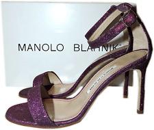 Manolo Blahnik Chaos Cuff Sandal Purple Glitter Ankle Strap Shoe Pump 38.5 -8