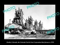 OLD LARGE HISTORIC PHOTO OF PUEBLO COLORADO, THE IRON PLANT BLAST FURNACE c1950