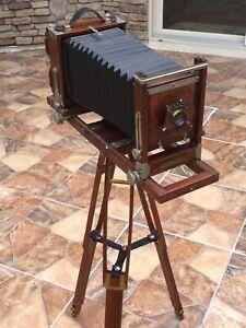 E++ Antique GUNDLACH View 4x5 Camera W/Conley Safety lens &Wood Tripod GERMANY