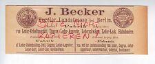 BERLIN, Werbung 1892, J. Becker Fabrik Leder-Fett-Degras Appretur-Schwärze-Lack