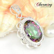 "Huge Oval Beautiful Rainbow Mystical Topaz Gems Silver Necklace Pendant 1 5/8"""