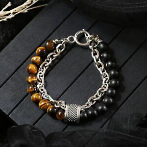 Men's Women Natural Stone Charm Tiger Eye Metal Chain Personality Bracelets Gift