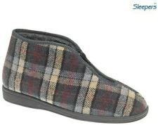 Men's Sleepers JED II Grey Checked Slippers Zip Fastening Warm Bootee Size 6 -12