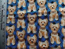 YORKIE DOGS ALLOVER PRINT ON BLUE BLACK CHECKS 100% COTTON FABRIC BY THE 1/2 YAR