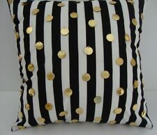 Decorator Pillow Cover Black and White Stripe with Gold Sequins 18 X 18 Custom