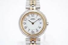 HERMES PROFILE White Dial Date Stainless Steel Quartz Women's Watch