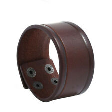 Punk Men Women Wide Genuine Leather Bracelet Surfer Clasp Cuff Wristband Bangle
