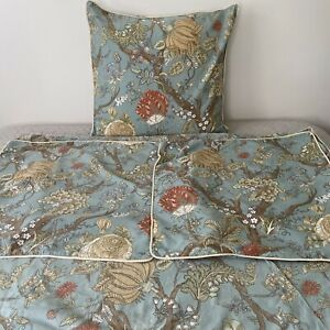 Pottery Barn Wells Duvet Cover Blue King Floral Palampore W/ Three Euro Shams