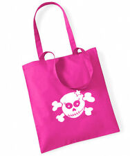 RACKY SKULL Cotton Bag Stoffbeutel pink