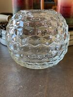 Vintage Round Clear Glass Fairy Lamp Candle Holder Diamond Design Pattern