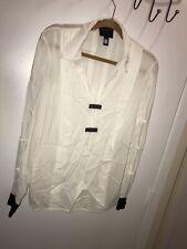 Class Roberto Cavalli White Beaded Studs Detail Pleated Blouse Shirt Top Sz 12