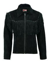 Mens Black Suede Leather Cowboy Western Jacket With Fringe Tassels