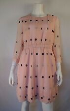 KATE SPADE Pink Polka Dot Tiny Spotlight Pleated Silk 3/4 Sleeve Dress 8 NWT