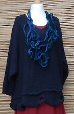 LAGENLOOK OVERSIZE WOOL MIX BEAUTIFUL QUIRKY HOLES JUMPER*NAVY* SIZE XL-XXL