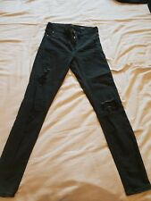 RIVER ISLAND WOMENS BLACK RIPPED MOLLY SKINNY JEANS SIZE UK 10