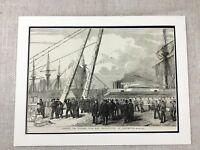 1855 Antico Navale Stampa Hms Retribution Portsmouth British Militare Storia