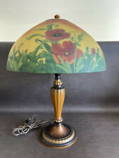 """Rare Jefferson Lamp Marked Red Poppy Reverse Painted 22"""" Arts Crafts"""