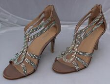 Fiore Beige Satin Effect Sandals with Diamante & Zip Fastening at Back Size 5/38