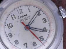 Optima 50s Vtg Steel Case Military Style Radium Dial ETA 1081 Serviced New Band