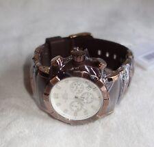 Adee Kaye Men's Quartz Chronograph AK2224-M BROWN CASE WHITE DIAL NEW