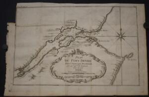PUERTO DESEADO ARGENTINA 1756 BELLIN ANTIQUE ORIGINAL COPPER ENGRAVED MAP
