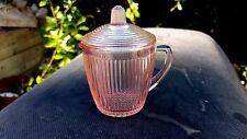RARE Pink Homespun Fine Rib Child's Tea Pot and Lid