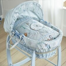 CLAIR DE LUNE WICKER MOSES BASKET FORTY WINKS + BLUE ROCKING STAND NEW