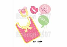 Mum to Be Baby Shower Photo Booth Props Pink Girl - 5 Pieces Bib Dummy Party