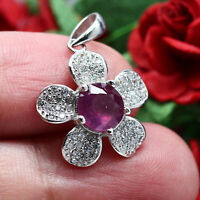 NATURAL 7 mm. RED RUBY & WHITE CZ FLOWER PENDANT 925 STERLING SILVER