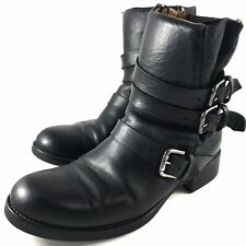 Alberto Fermani Women's Size 38 Black Triumvirate Leather Ankle Boots Side Zip