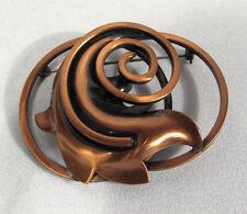 Vintage Costume Brooch Art Deco Copper Swirl & Leaf