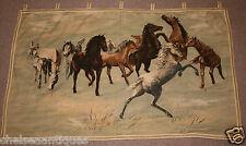"1960s Belgian Tapestry Wild Horses Wall-Hanging W125cm/50"" Mustangs Brown/Green"