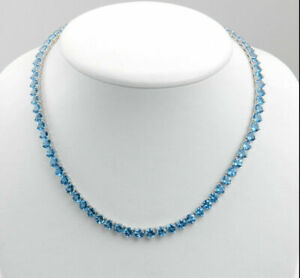 "35 Ct Blue Topaz Excellent Tennis Necklace 18""Inch 14K White Gold Finish Silver"