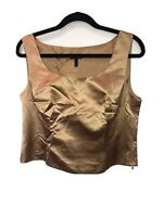 Vintage Escada Gold 100% Silk Satin Crop Top Blouse Made In Germany. Sz 42  W604