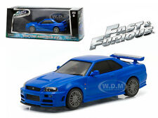 BRIAN'S 2002 NISSAN SKYLINE BLUE GT-R FAST FURIOUS 2009 1/43 BY GREENLIGHT 86219