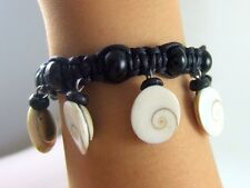 "6! Eye of Shiva Shell Beads and Waxed Cord bracelet 6""-10"" adjustable ; AA048"