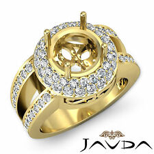 Pave Diamond Anniversary Filigree Ring 18k Yellow Gold Round Semi Mount 1.32Ct