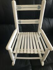 VINTAGE CHILDS DOLL BEAR WOODEN ROCKING CHAIR DISTRESSED WHITE